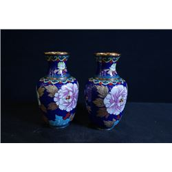 "A Pair of Two Middle 20th Century Small Cloisonne Enamel ""Floral and Bird"" Meiping"
