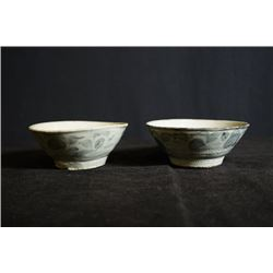 """Late Qing Dynasty, """"Yu Xi Yao"""" blue-and-white two small bowls, small crack"""