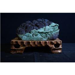 Grade A Jadeite, mountain and figures large decorationbaoshi diao