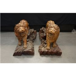 Early 20th entury, a pair of wood carved lions mu diao