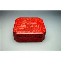 An Early 20th Century Carved Cinnabar Lacquer Square Box with Immortal