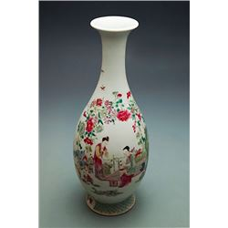 """Qing Dynasty (Yong Zheng experor), A Famille-Rose """"Jiao Zi Tu"""" Baluster Vase with Flower and Figure"""