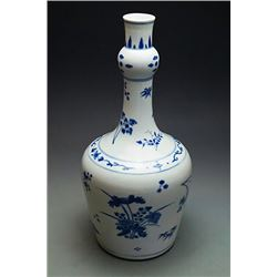 """A Blue-and White """"Flora"""" Vase; Qing Dynasty (Kang Xi emperor)"""