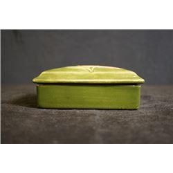 "UK famous art ceramics band - Moorcroft, a ""Flowers"" darkslategray rectangle box, made in England"