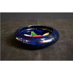 """UK famous art ceramics band - Moorcroft, a small """"Flowers"""" cobalt blue brush washer, made in England"""