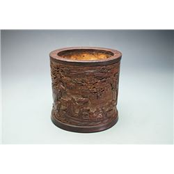 """Early Qing Dynasty, A Carved Bamboo Brushpot with a pattern of """"Su Dongpo, Huang Tingjian and Fo yin"""
