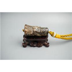 """A """"Dragon"""" Jade Tube; Shang Dynasty(BC1600-BC1046)"""