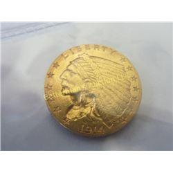1914 D  2.5 Dollar Gold Indian