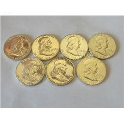 7 Gem Proof Franklin Half Dollars