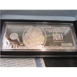 4 Ounce .999 Silver Bar  With Box and COA