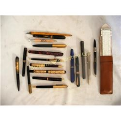 Lot 18 Vintage Fountain Pens and Slide Rule
