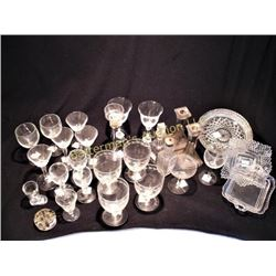 Lot Clear Glass Glasses, Stems and Flutes