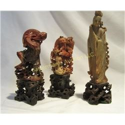 Carved Soapstone Chinese Figures