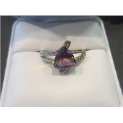 Trillion 1.6 ct  Amethyst Stone  in Sterling Ring