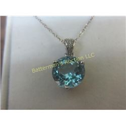 2.6 ct  Blue Topaz  Pendant With Sterling Chain