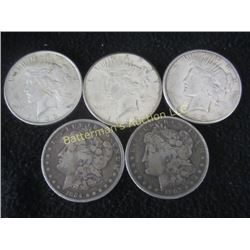 Lot of 5 Silver Dollars