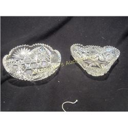 2 Brilliant Cut Glass Candy Dishes