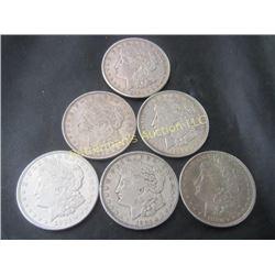 Lot of Six Morgan Silver Dollars !