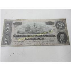 20 Dollar Confederate Note Richmond