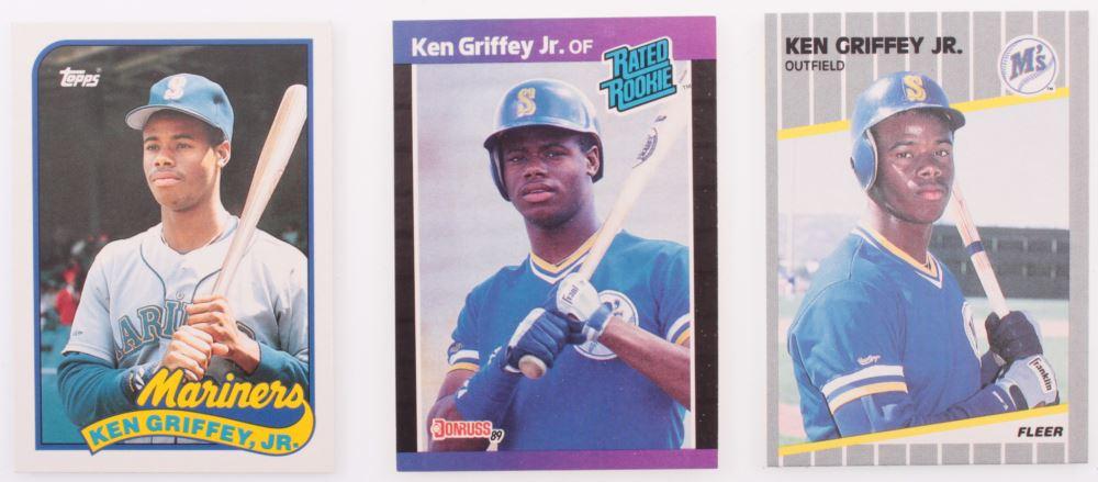 Lot Of 3 Ken Griffey Jr Baseball Cards With 1989 Fleer