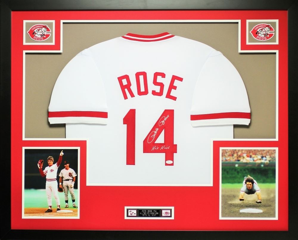 c7e6df277 Image 1   Pete Rose Signed Reds 35x43 Custom Framed Jersey Inscribed