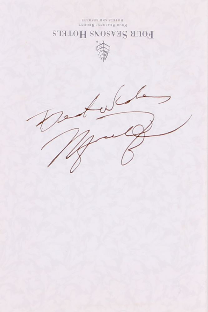 f48484f80d0 Image 1 : Michael Jordan Signed Four Seasons 4x6 Stationery Cut Inscribed