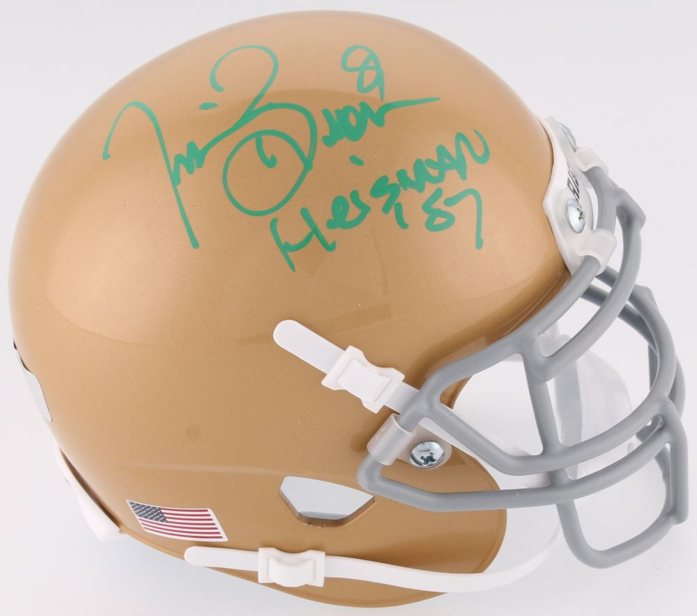 e5bb06a0213 Image 1   Tim Brown Signed Notre Dame Fighting Irish Mini-Helmet Inscribed