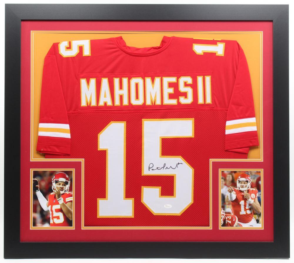 e5b2cb09739fe Image 1 : Patrick Mahomes Signed Chiefs 31x35 Custom Framed Jersey (JSA COA)