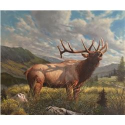 TIM SPRANSY ORIGINAL OIL PAINTING OF AN ELK $1,500