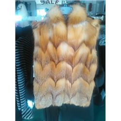Natural Red Fox 24 inch Vest with Mandarin Collar