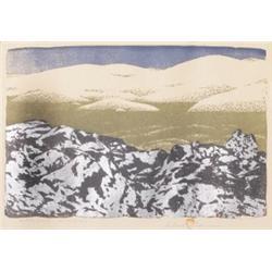 Gustav Baumann woodblock, Black Lava White Sand