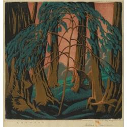 Gustave Baumann woodblock, Redwood,