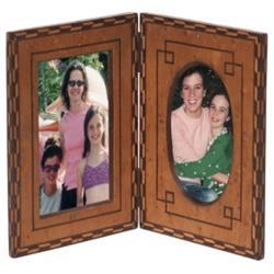 Arts & Crafts folding frame, inlaid wood