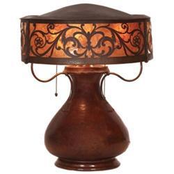 Arts & Crafts lamp, unusual hammered