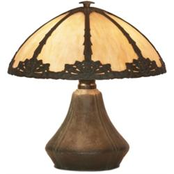 Arts & Crafts lamp, panel slag glass