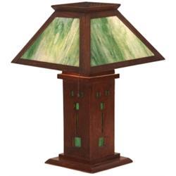 Arts & Crafts lamp, green slag glass