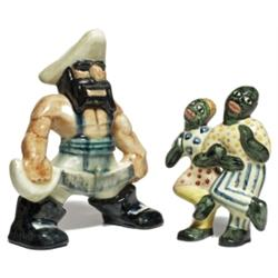 Shearwater figural, muscular pirate with a sword, stamped mark