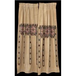 Arts & Crafts curtain panels, pair