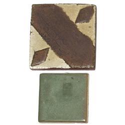 Grueby tile geometric design ivory