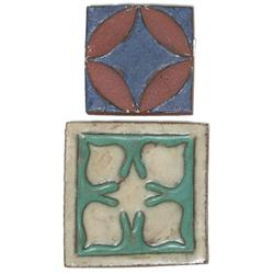 Grueby tile, red clay with geometric