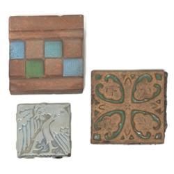 Batchelder mantle tile checkered design