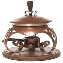 Arts & Crafts chafing dish hammered copper
