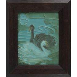 Rookwood Faience tile swans