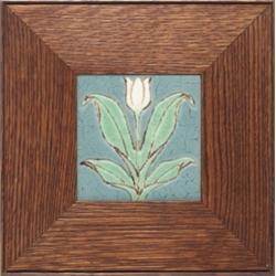 Grueby tile, carved tulip design
