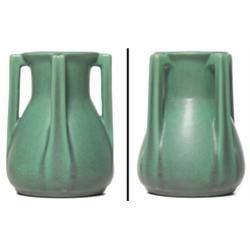 Teco vase four handled form green matt glaze