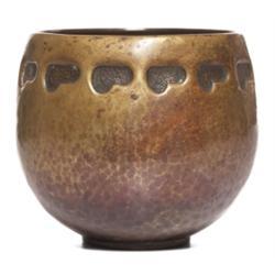 Arts & Crafts vase, hammered copper