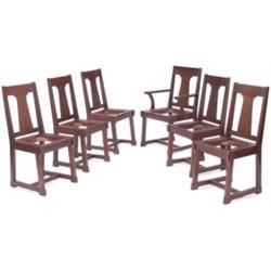 Prairie School dining chairs, set of six