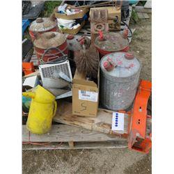 PALLET OF GAS CANS, 220 VOLT HEATER, PROPANE HEATER, DRILL SET