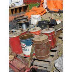 PALLET OF GAS CANS, FLOOR JACK, CHAIN HOIST, MISC