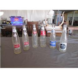 6 Pop bottles - 2 Stubby, 2 Mission, diet rite, Double Cola